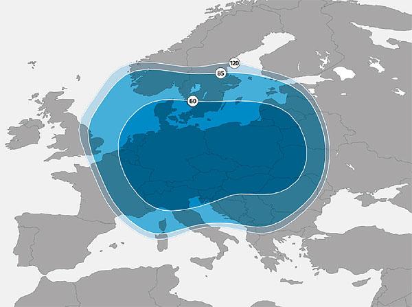 Diagram pokrytí družice Astra 3B, paprsek Europe