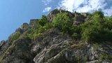 Pád skály u slovenského hradu Strečno