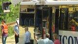Srážka drezíny s autobusem na přejezdu v Třešti na Vysočině