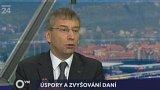 Jaromír DRÁBEK /TOP09/, ministr práce a sociálních věcí; Jaroslav ZAVADIL, předseda ČMKOS; Milan ZELENÝ, ekonom