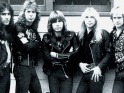 Iron Maiden, zleva Steve Harris, Clive Burr, Bruce Dickinson, Dave Murray, Adrian Smith, cca 1983
