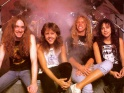 Metallica, zleva Cliff Burton, Lars Ulrich, James Hetfield, Kirk Hammett, pol. 80. let