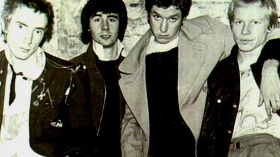 Sex Pistols, zleva Johnny Rotten, Glen Matlock, Steve Jones, Paul Cook, 1976-77
