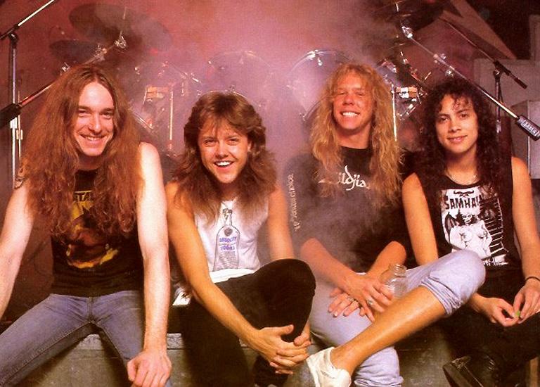 fba796cf2805d Metallica, zleva Cliff Burton, Lars Ulrich, James Hetfield, Kirk Hammett,  pol